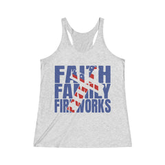 Faith Family Fireworks Women's Tri-Blend Racerback Tank