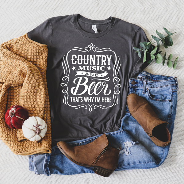 Country Music and Beer That's Why I'm Here Unisex Jersey Short Sleeve Tee