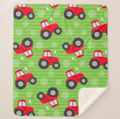 Red Tractor Minky Blankets