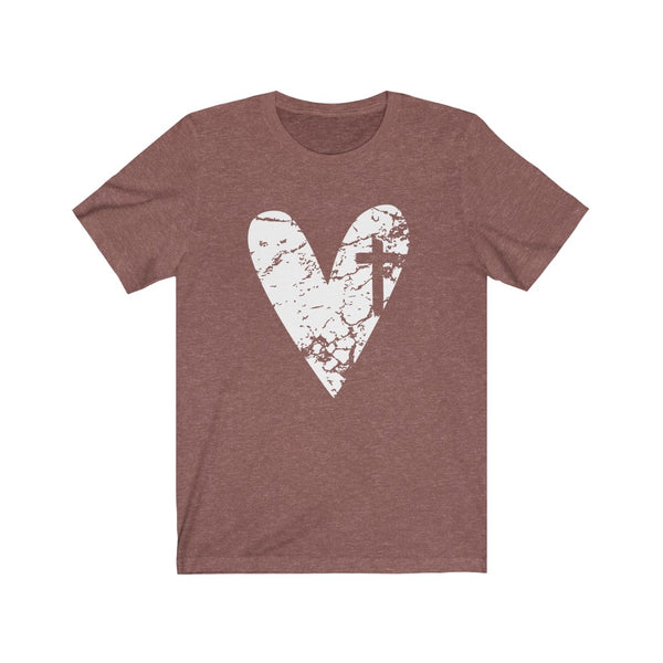 Heart with Cross Unisex Jersey Short Sleeve Tee