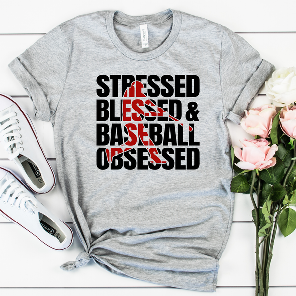Stressed Blessed and Baseball Obsessed Unisex Jersey Short Sleeve Tee