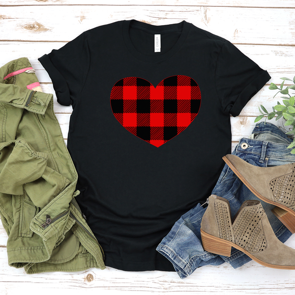 Buffalo Plaid Heart Jersey Short Sleeve Tee