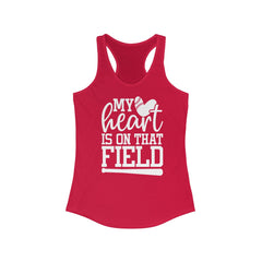My Heart is on that Field Women's Ideal Racerback Tank