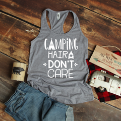 Camping Hair Don't Care Women's Ideal Racerback Tank