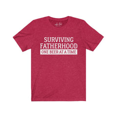 Surviving Fatherhood One Beer at a Time Unisex Jersey Short Sleeve Tee