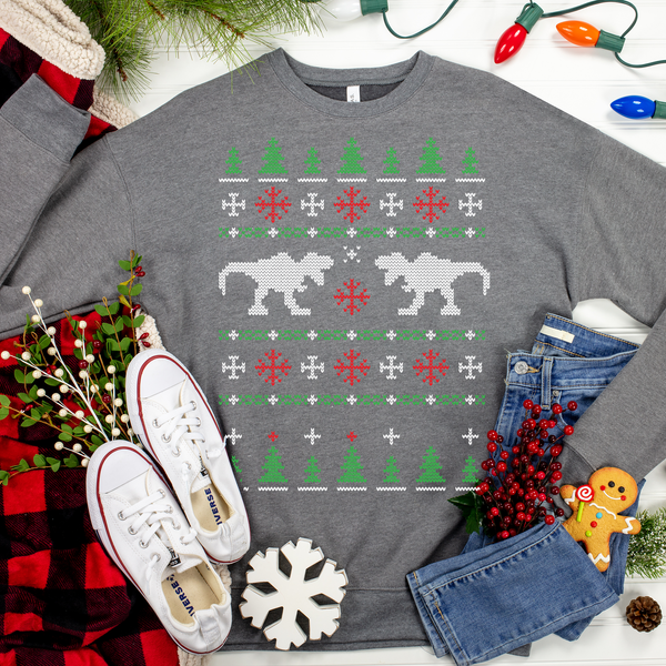 Dueling Dinos Ugly Christmas Sweater