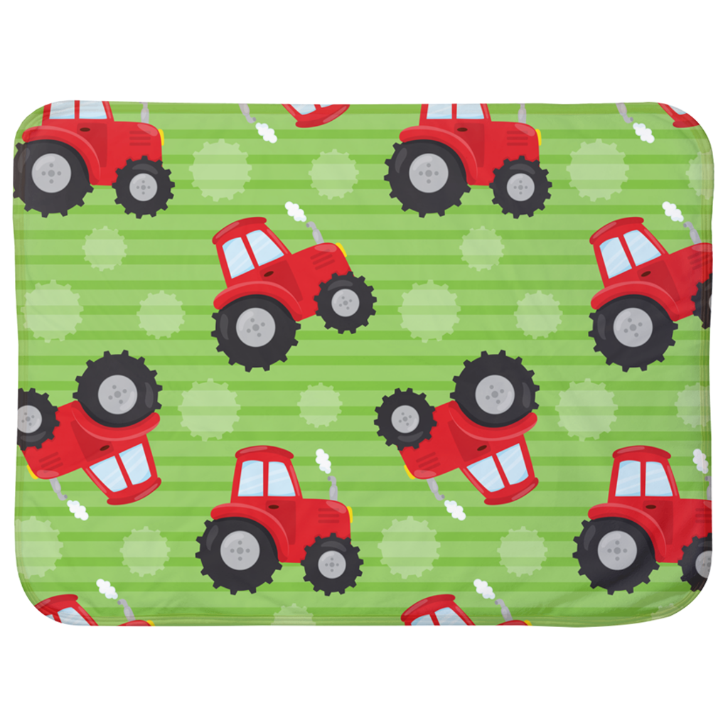 Red Tractor Baby Sherpa Blanket