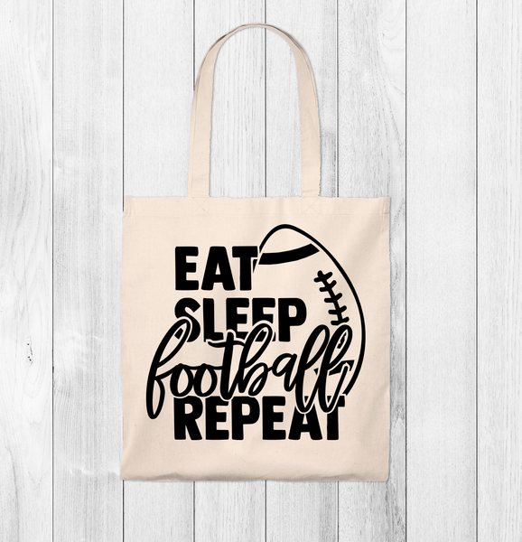 Eat, Sleep Football Repeat Tote Bag - Vintage