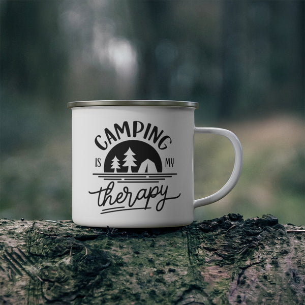 Camping is My Therapy Enamel Camping Mug
