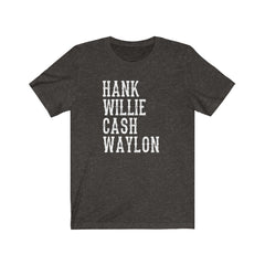Hank Willie Cash Waylon Unisex Jersey Short Sleeve Tee