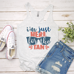 I'm just here for the tan Women's Tri-Blend Racerback Tank