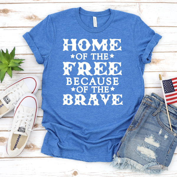 Home of the Free Because of the Brave Unisex Jersey Short Sleeve Tee