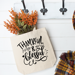 Thankful and Blessed Tote Bag - Vintage