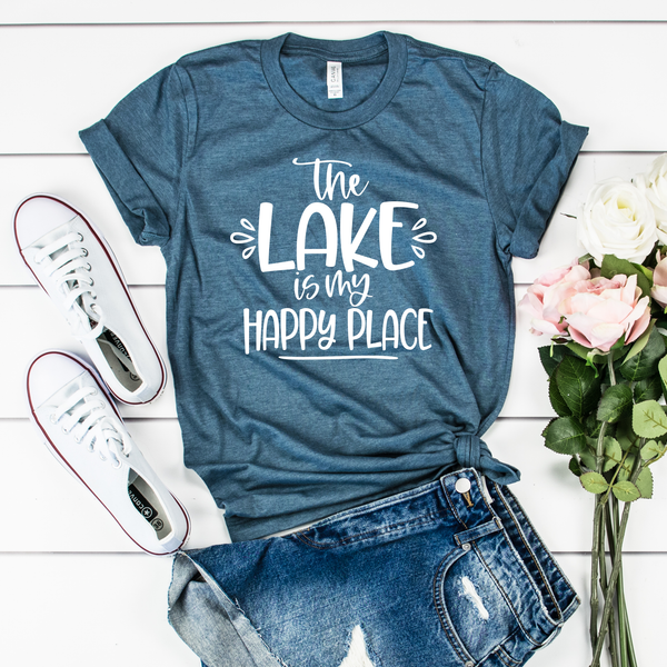 The Lake is my Happy Place Unisex Jersey Short Sleeve Tee