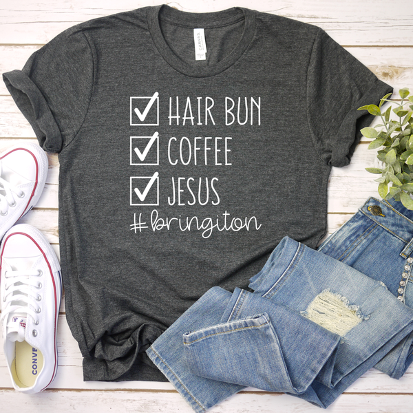 Hairbun, Coffee, Jesus Unisex Jersey Short Sleeve Tee