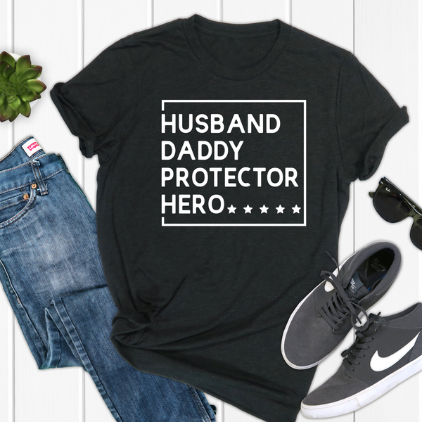 Husband, Daddy, Protector Hero Unisex Jersey Short Sleeve Tee