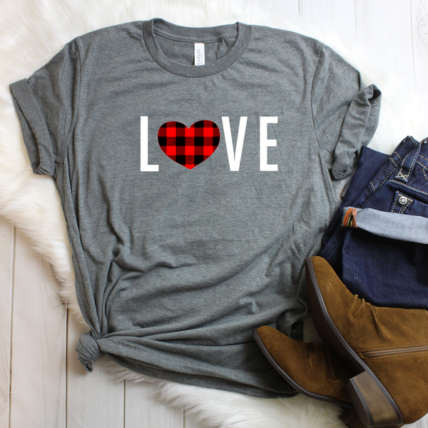 LOVE Buffalo Plaid Unisex Jersey Short Sleeve Tee