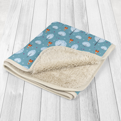 Blue Foxes Baby Sherpa Blanket