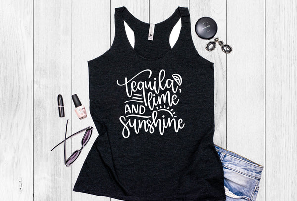 Tequila, Lime and Sunshine Women's Tri-Blend Racerback Tank
