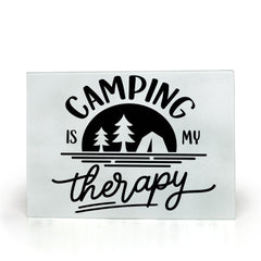 Camping is my Therapy Glass Cutting Boards