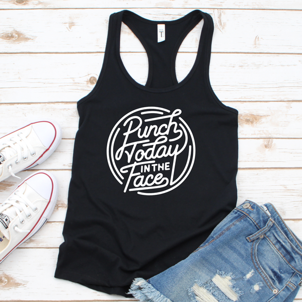 Punch Today in the Face Women's Tri-Blend Racerback Tank