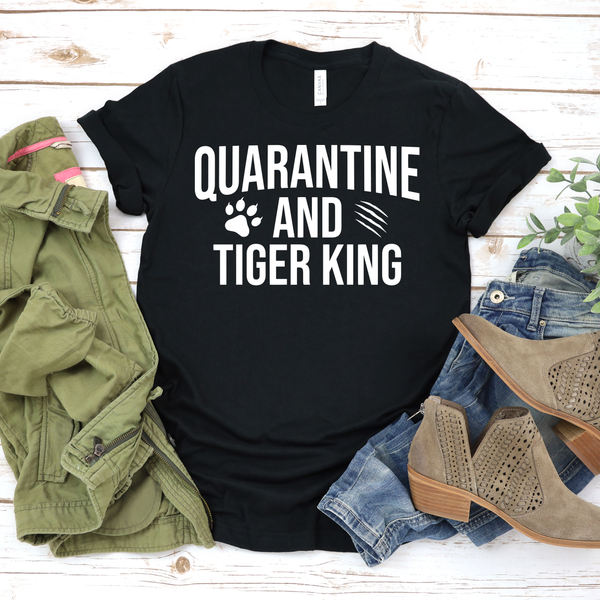Quarantine and Tiger King Unisex Jersey Short Sleeve Tee