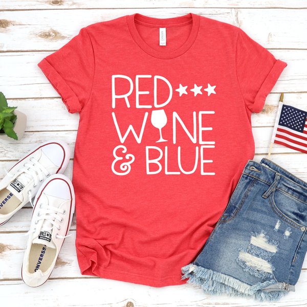 Red Wine and Blue Unisex Jersey Short Sleeve Tee