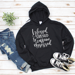 Blessed Stressed & Caffeine Obsessed Unisex Heavy Blend Hooded Sweatshirt