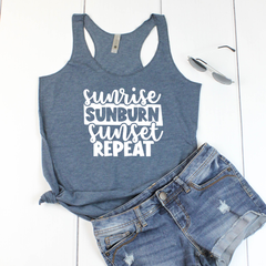Sunrise Sunburn Sunset Repeat Women's Tri-Blend Racerback Tank