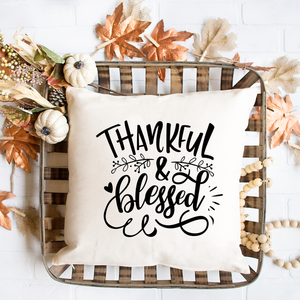 Thankful and Blessed Spun Polyester Square Pillow Case