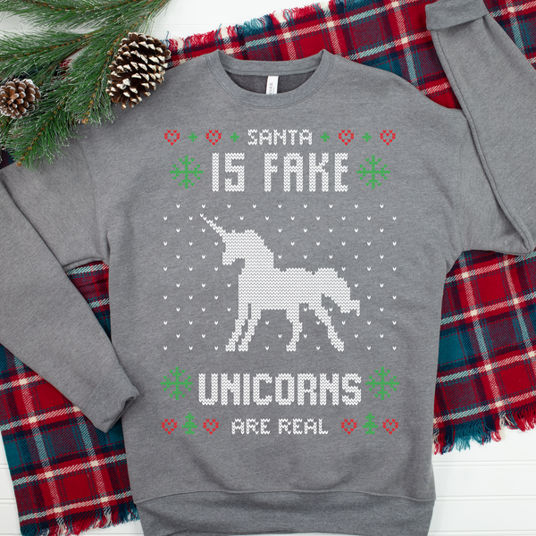 Santa is Fake, Unicorns are Real Ugly Christmas Sweater