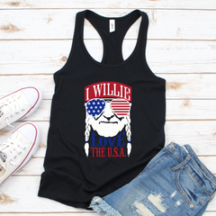 I willie love the USA Women's Tri-Blend Racerback Tank