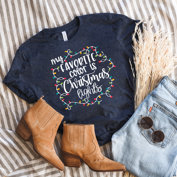 My favorite color is Christmas Lights Unisex Jersey Short Sleeve Tee