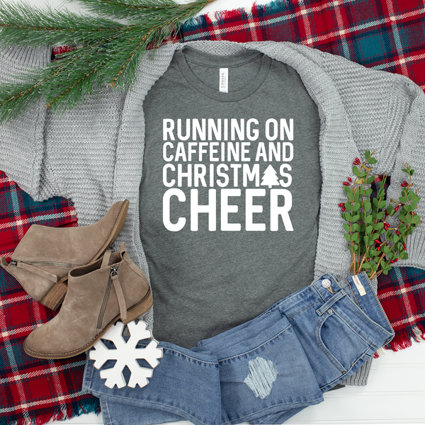 Running on Caffeine and Christmas Cheer Unisex Jersey Short Sleeve Tee