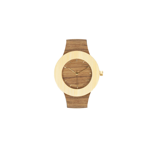 Analog Wooden Watch - Teak & Bamboo