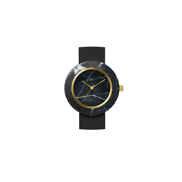 Analog Marble Watch - Black Circle with Black Leather Strap