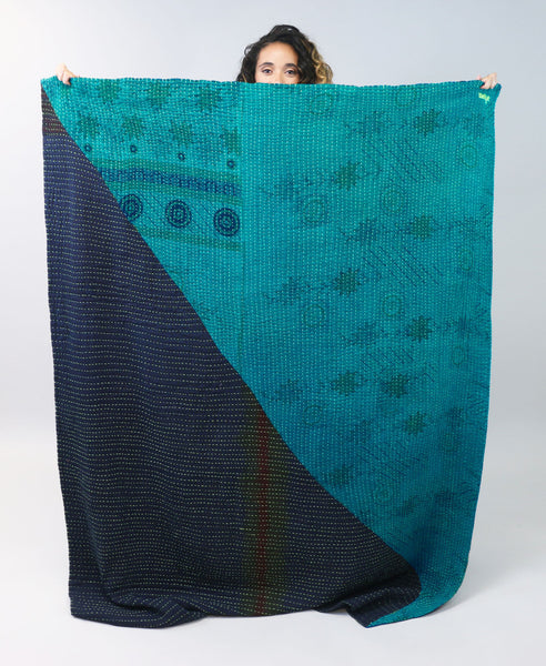 Large Bias Throw - Indigo & Teal