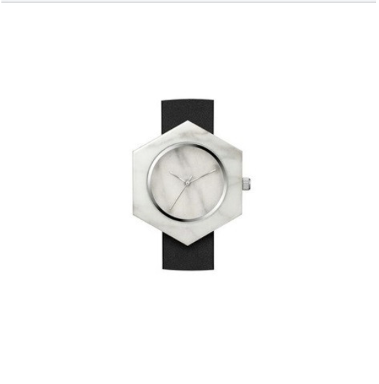 Analog Marble Watch - White Hex with Black Leather Strap