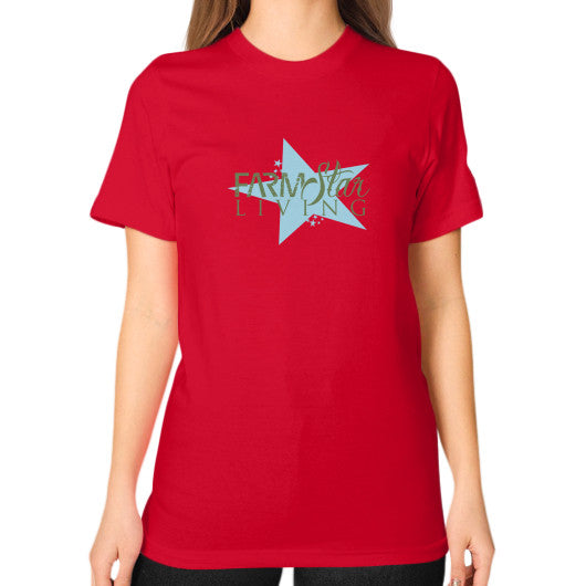 Unisex T-Shirt (on woman) Red Farm Star Living