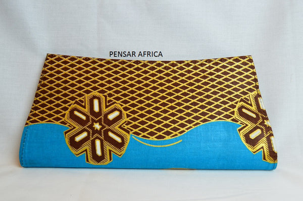 Kitenge clutch - Blue - Flower Print