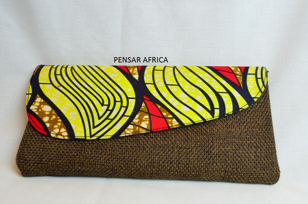 Kitenge clutch - Brown - Woven -  Red / Yellow Print