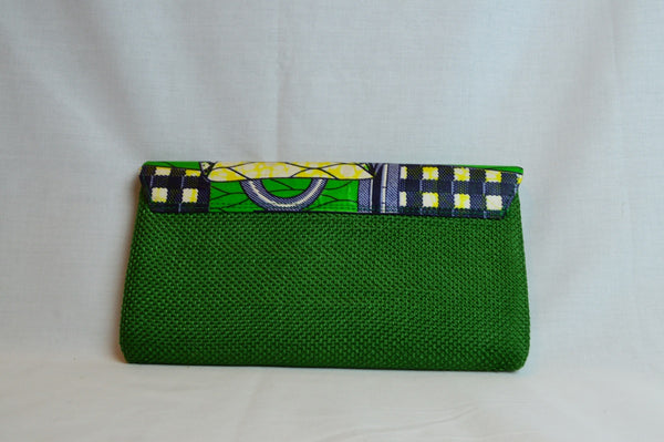 Kitenge clutch - Green - Handbag Print