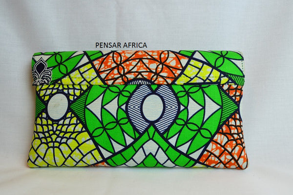Kitenge clutch - Green - Mixed Print