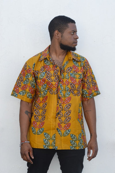 Majani (Leaves) Kitenge Men's Shirt
