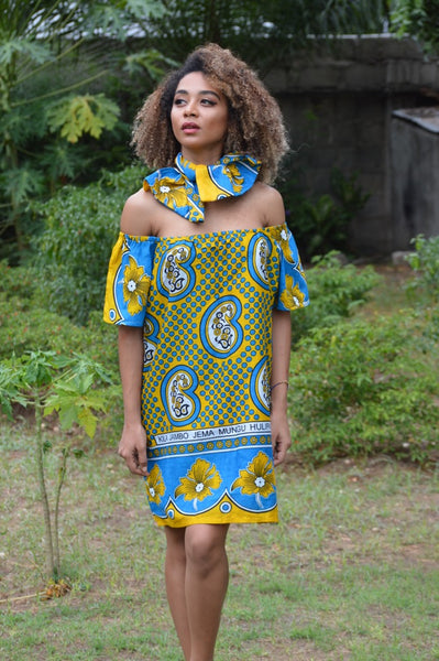 Korosho 'Cashew' Mini Khanga Dress
