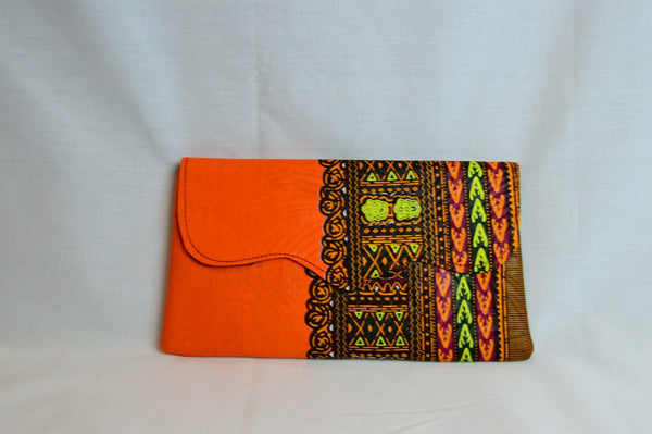 Kitenge clutch - Orange - Dashiki Print
