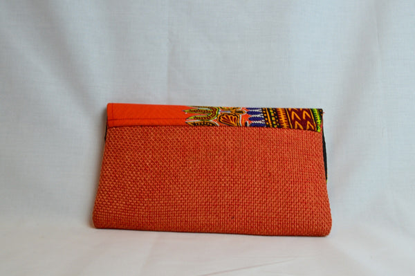 Kitenge clutch - Orange - Woven Dashiki Print