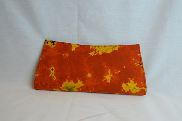 Kitenge clutch - Orange - Tie and Dye  Batik Print