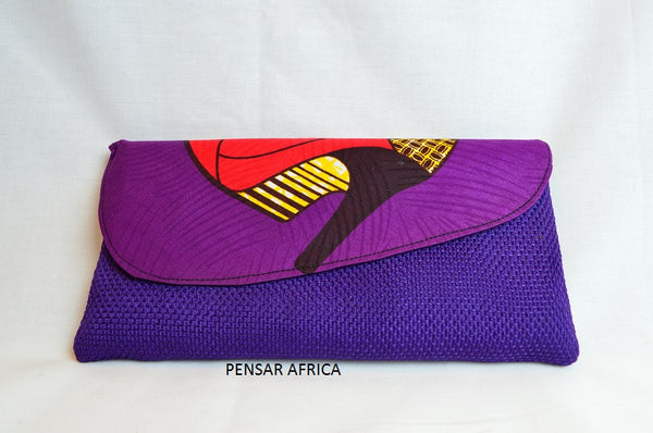 Kitenge clutch - Purple - Shoe Print