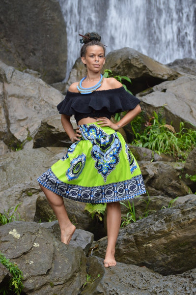 Kitenge High Waist Belted Skirt